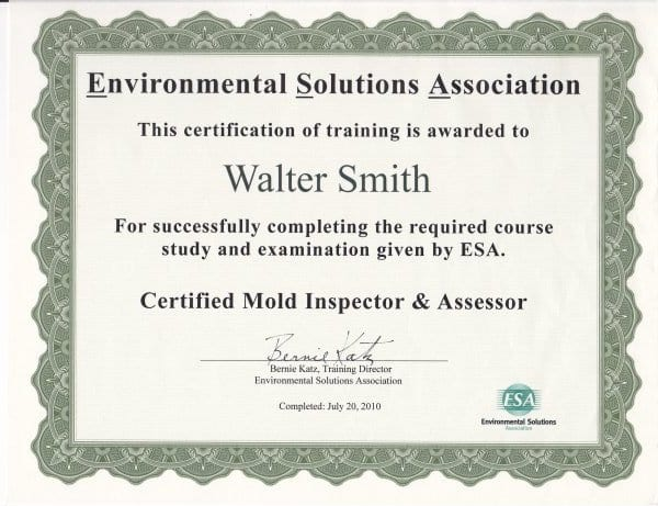 Mold Certification for Raleigh Mold in Cary NC
